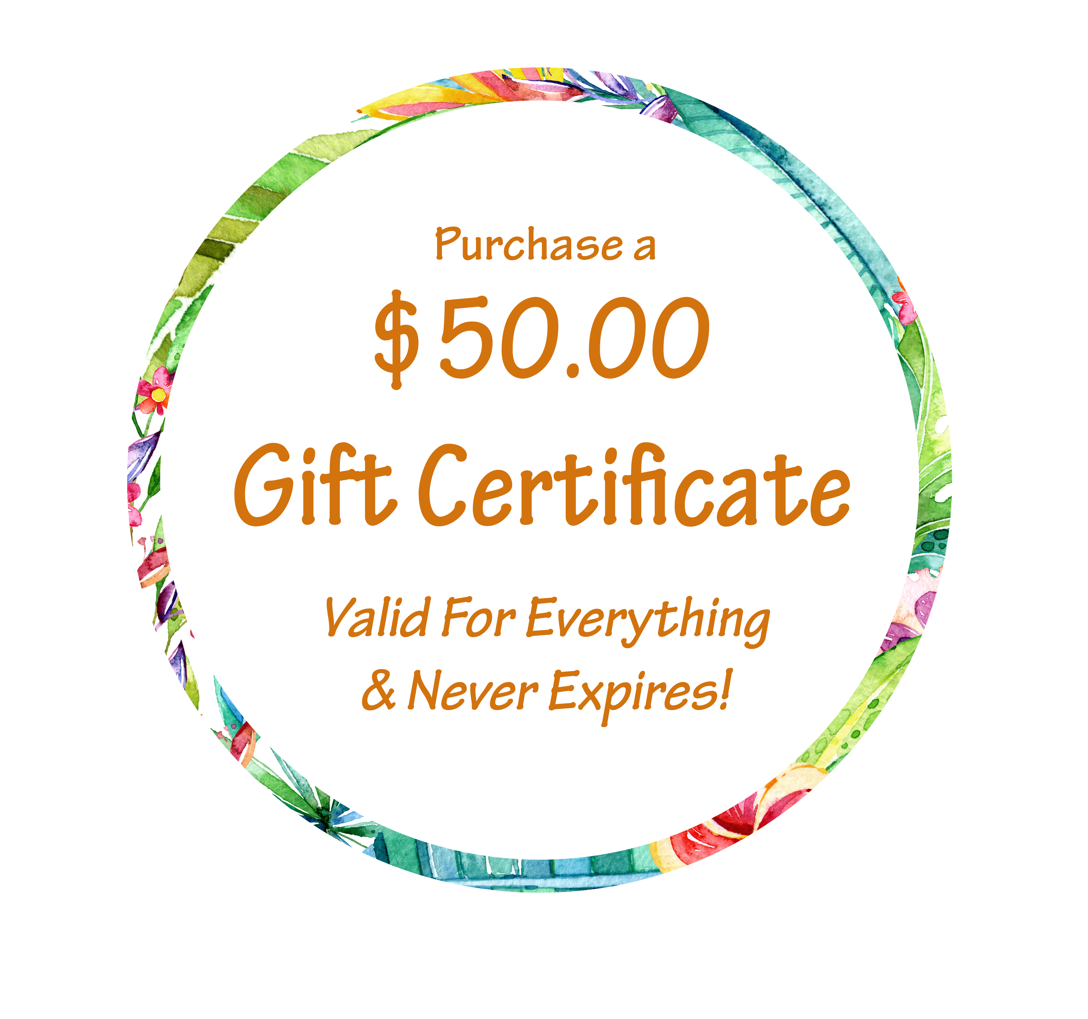 $50.00 Gift Certificate Ilustration